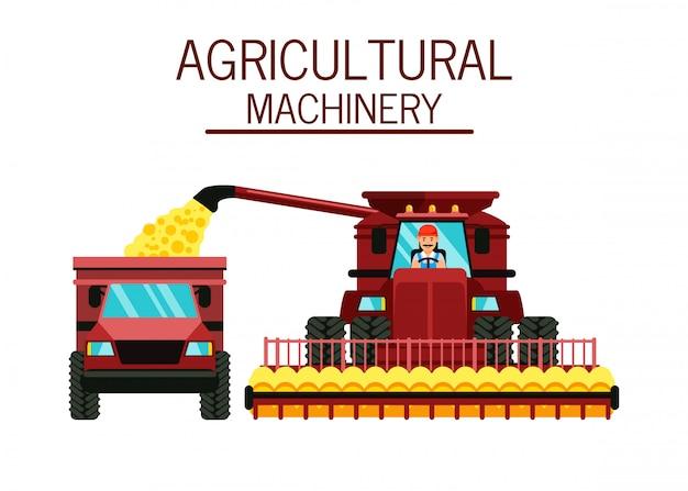 Agricoltore nell'illustrazione della cabina della mietitrebbiatrice Vettore Premium