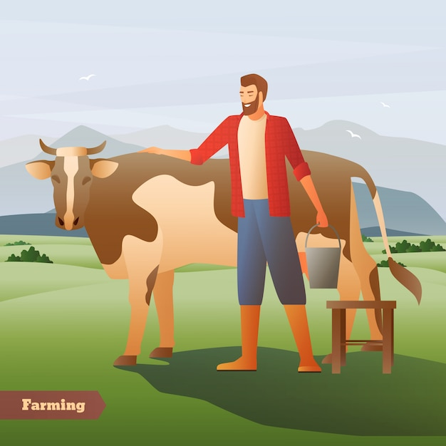 Agricoltore sorridente con la mucca macchiata vicina del secchio sul pascolo verde sulla composizione piana nel fondo della montagna Vettore gratuito