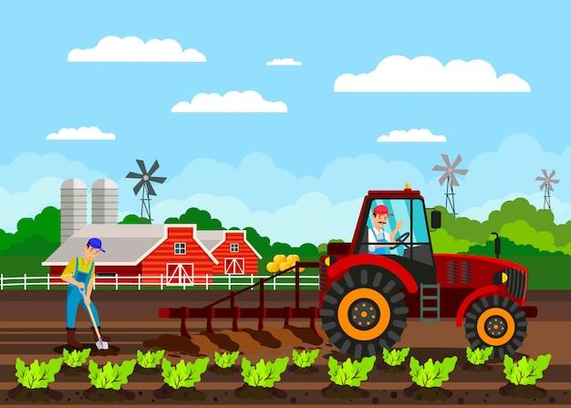 Agricoltori che lavorano vettore piano dei personaggi dei cartoni animati Vettore Premium