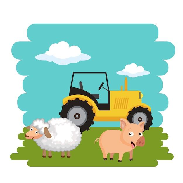 Agricoltura e concetto di paese Vettore Premium