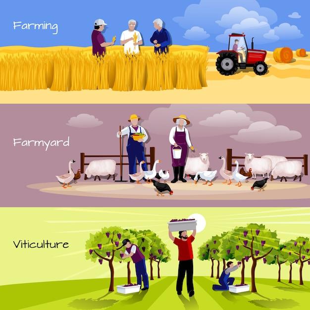 Agricoltura persone 3 set di banner orizzontali piatti Vettore gratuito