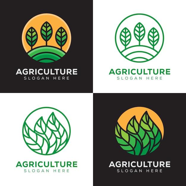 Agricoltura, pianta tropicale logo impostato con stile art linea Vettore Premium