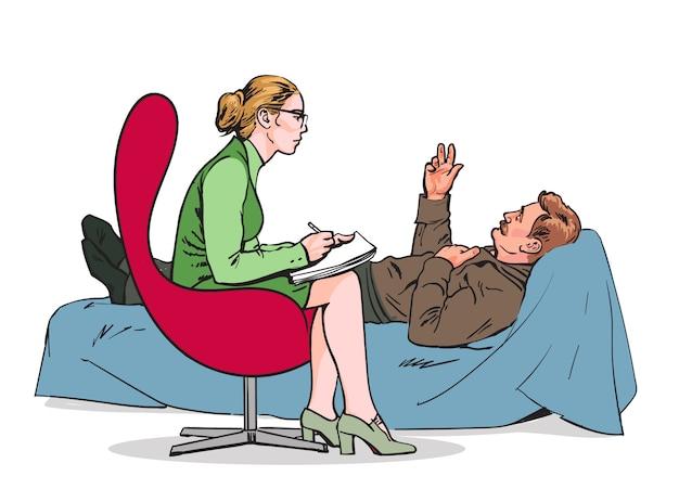 Aiuta lo psicologo. psicoterapia. consultare il medico psicologo. lo psicologo ascolta il paziente. lo psicologo valuta il paziente. lo psicologo risolve il problema. consulenza medica. Vettore Premium