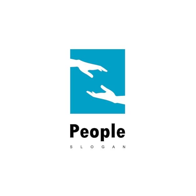 Aiutare persone logo con simbolo della mano Vettore Premium