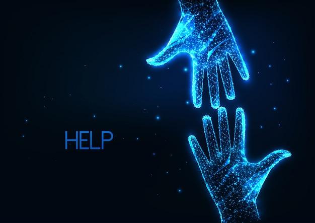 Aiuto futuristico, assistenza con due mani umane poligonali basse e luminose che si raggiungono Vettore Premium