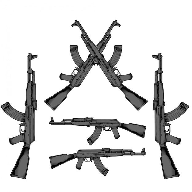 Ak 47 disegno a mano Vettore Premium