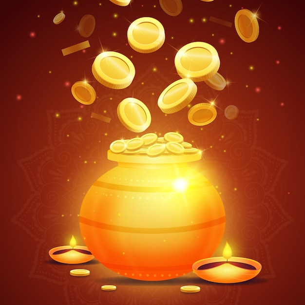 Akshaya tritiya pentola d'oro e denaro Vettore gratuito