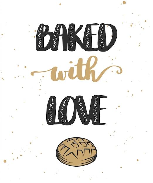 Al forno con l'amore con il pane Vettore Premium