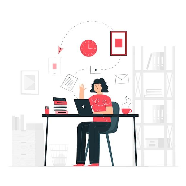 Al lavoro concetto illustrazione Vettore gratuito