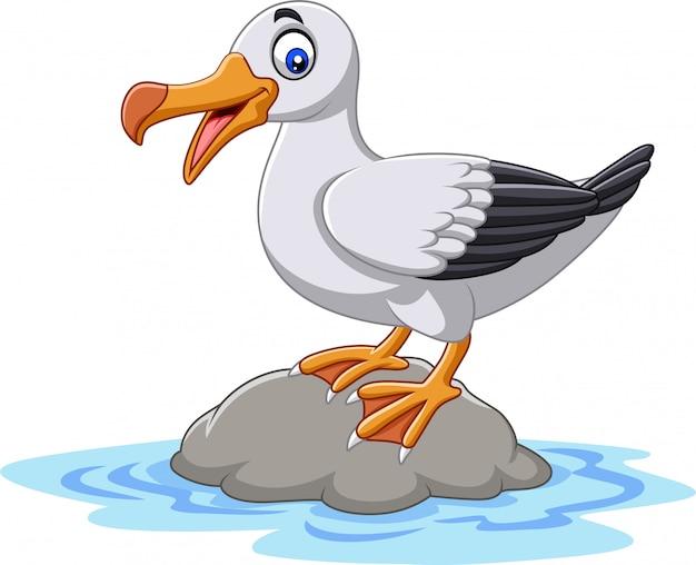 Albatro sveglio dell'uccello del fumetto che sta su una roccia Vettore Premium
