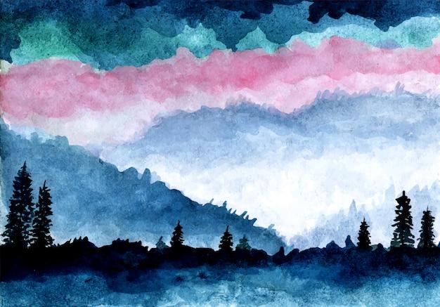 Alberi di montagna e pini con acquerello Vettore Premium