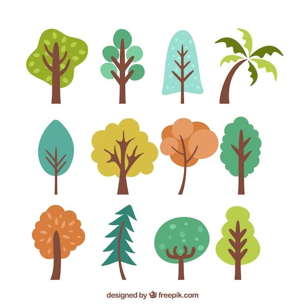 Alberi semplice set di colori scaricare vettori gratis for Semplice creatore di piano gratuito