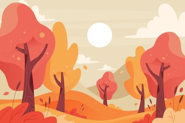 Alberi variopinti del fondo di autunno Vettore gratuito