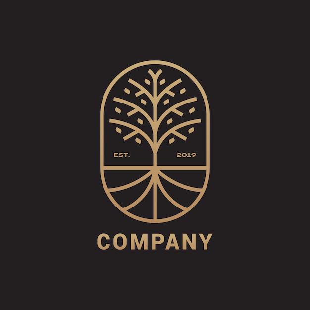 Albero astratto con logo di radice, illustrazione elegante e di lusso Vettore Premium