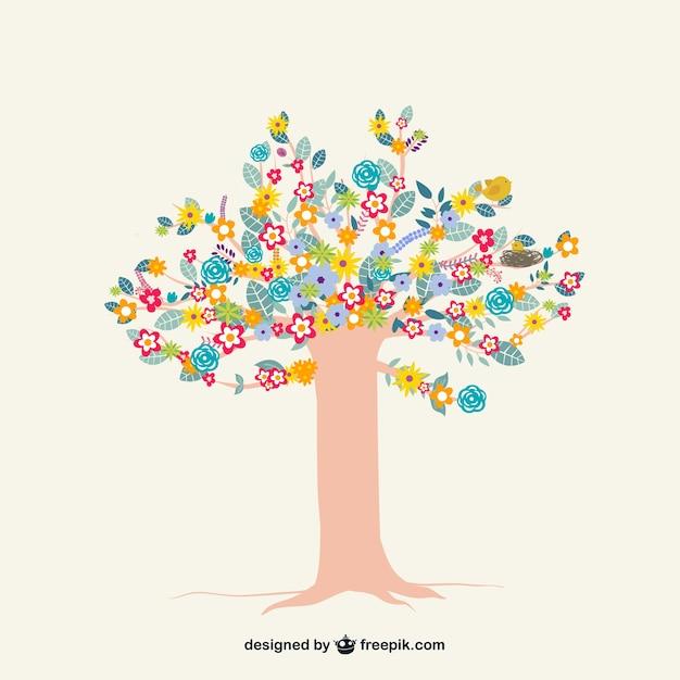 Albero colorato con i fiori scaricare vettori gratis for Albero con fiori blu