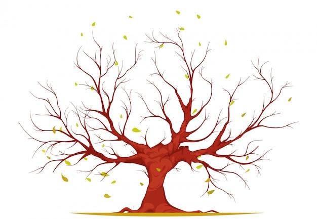 Albero con i rami e le radici, foglie cadenti, su fondo bianco, illustrazione Vettore gratuito