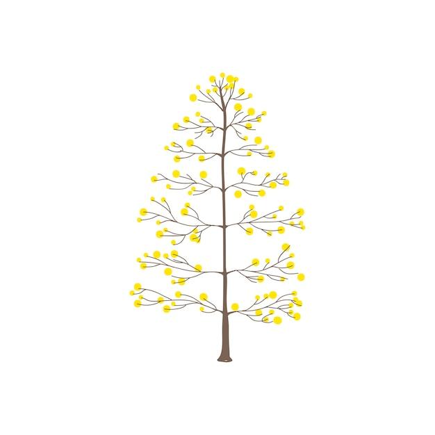 Albero con il vettore giallo delle foglie rotonde Vettore gratuito