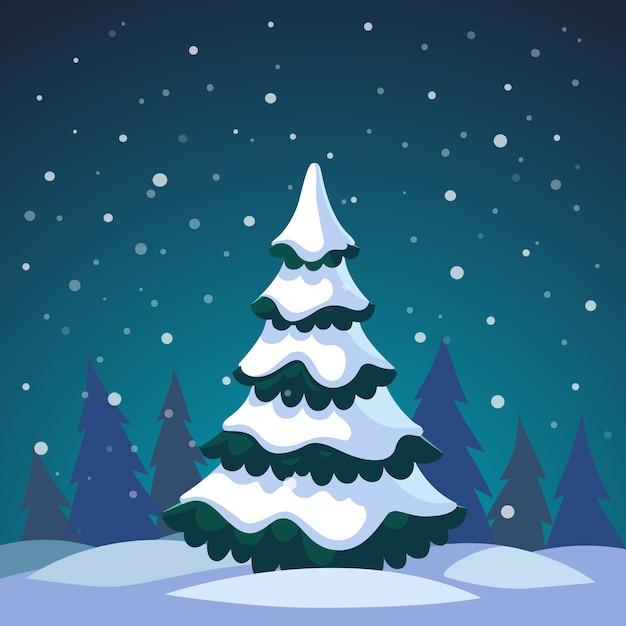 Immagini Abete Di Natale.Albero Di Abete Di Natale Coperto Nella Foresta Scaricare
