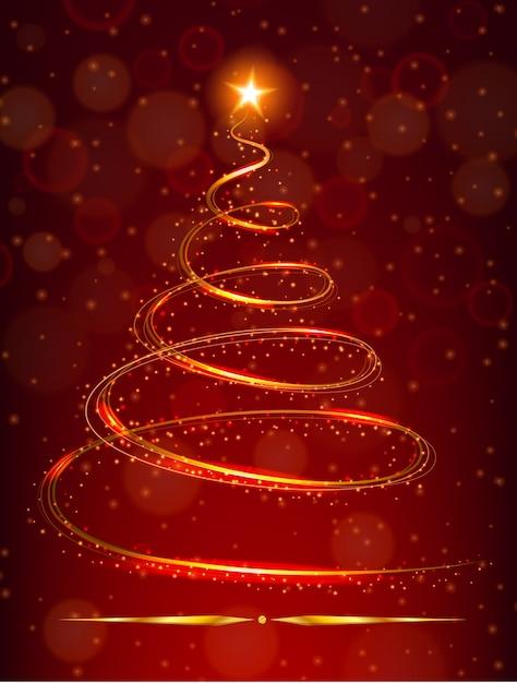 Stella Albero Di Natale Luminosa.Albero Di Natale Con Stella Luminosa Su Sfondo Rosso Scaricare