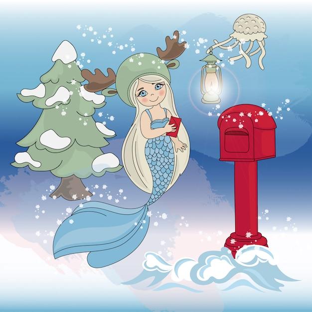 Albero di natale di mermaid anno nuovo a colori Vettore Premium