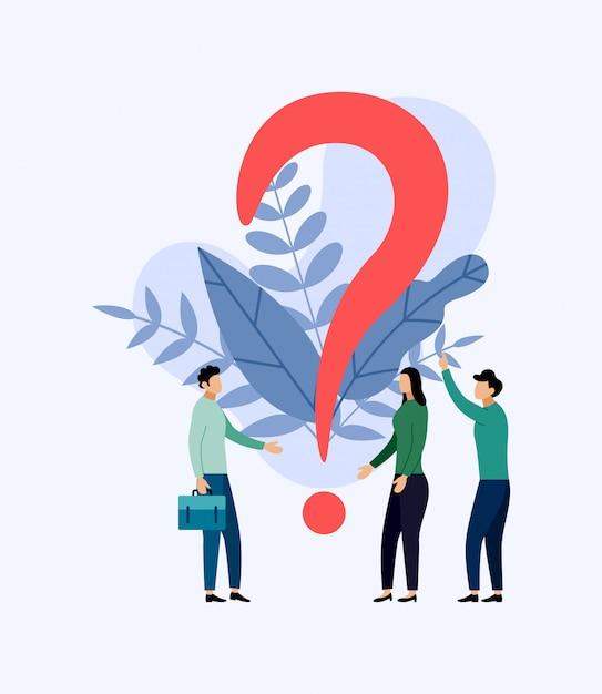 Alcune persone sono alla ricerca di domande, illustrazione di concetto di affari Vettore Premium