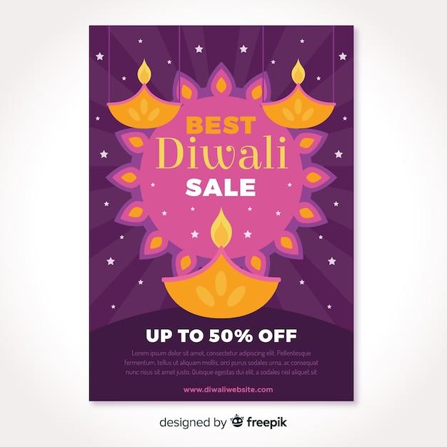 Aletta di filatoio astratta di vendita di diwali delle candele e del sole Vettore gratuito
