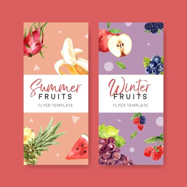 Aletta di filatoio con il tema della frutta, modello creativo dell'illustrazione di inverno di estate. Vettore gratuito