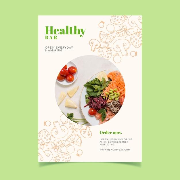 Aletta di filatoio del ristorante di cibo sano con foto Vettore gratuito
