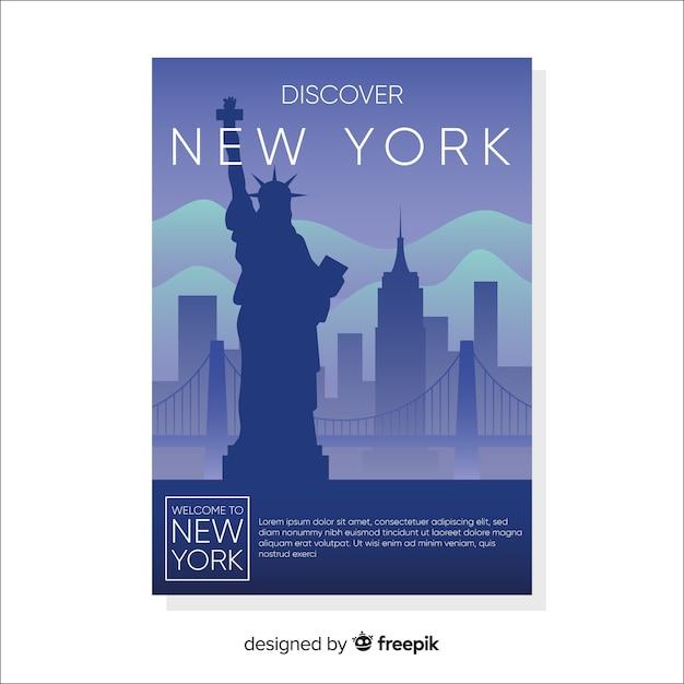 Aletta di filatoio di paesaggio urbano piatto new york Vettore gratuito