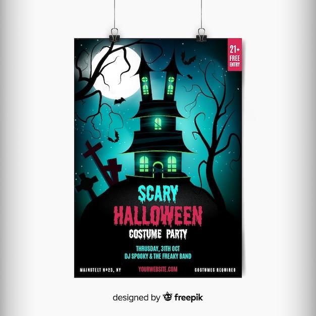 Aletta di filatoio spaventosa abbandonata del partito di halloween della casa Vettore gratuito