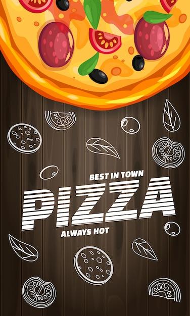 Aletta di filatoio verticale italiana della pizzeria della pizza con gli ingredienti e il testo, vista superiore degli alimenti a rapida preparazione Vettore Premium