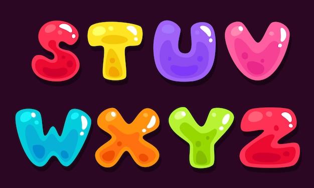 Alfabeti colorati gelatina parte 3 Vettore Premium