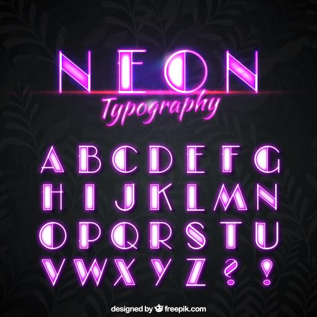 Alfabeto al neon di luci rosa  Scaricare vettori gratis