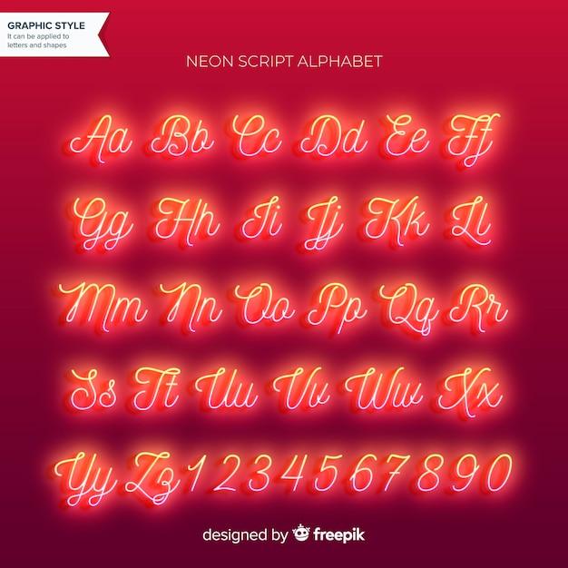 Alfabeto al neon Vettore gratuito