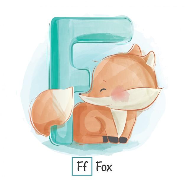 Alfabeto animale - f Vettore Premium