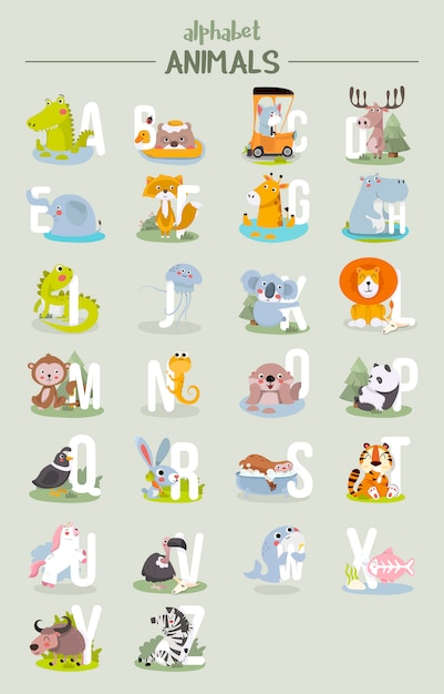 Alfabeto animale grafico dalla a alla z. Vettore Premium