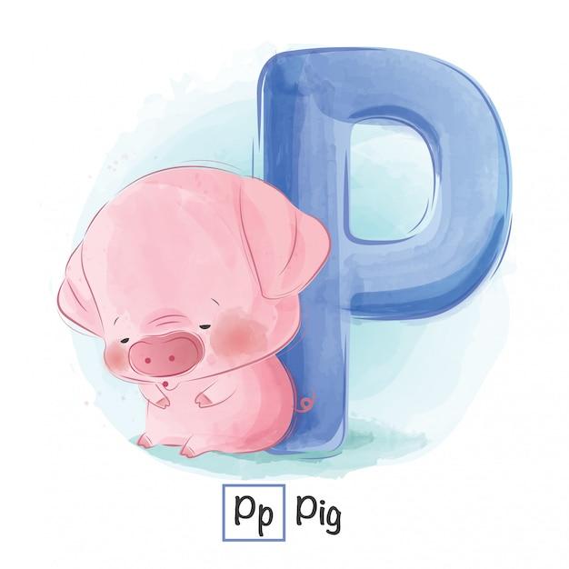 Alfabeto animale - lettera p Vettore Premium