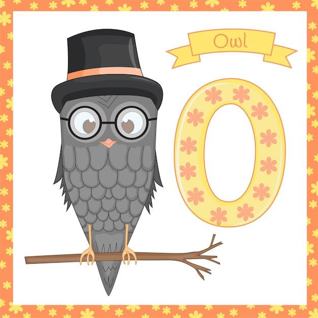 Alfabeto animale. o è per il gufo. illustrazione vettoriale di un gufo felice. gufo simpatico cartone animato isolato Vettore Premium