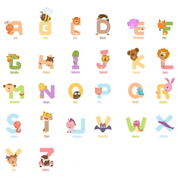 Alfabeto animale per bambini Vettore Premium