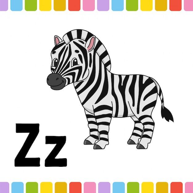 Alfabeto animale. zoo abc. animali svegli del fumetto su fondo bianco. Vettore Premium