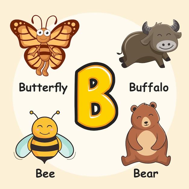 Alfabeto animali simpatici lettera b Vettore Premium