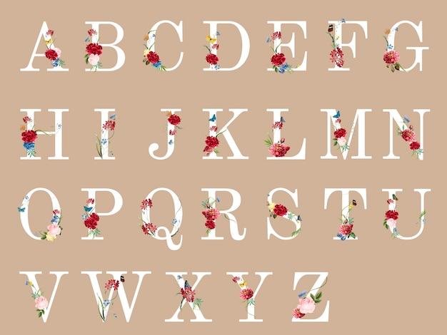 Alfabeto botanico con illustrazione di fiori tropicali Vettore gratuito