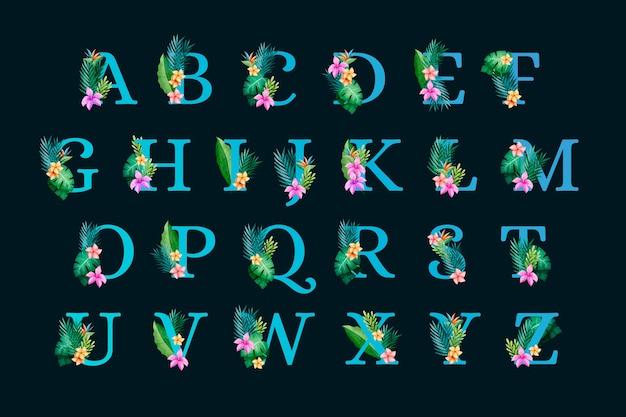 Alfabeto botanico floreale su sfondo nero Vettore gratuito
