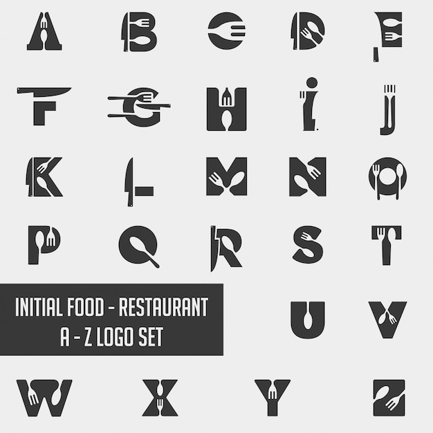 Alfabeto cibo chef logo collezione icona elemento Vettore Premium