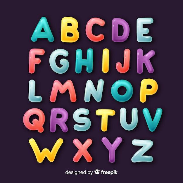 Alfabeto colorato disegnato a mano Vettore gratuito