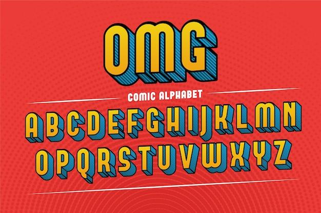 Alfabeto comico 3d colorato Vettore gratuito