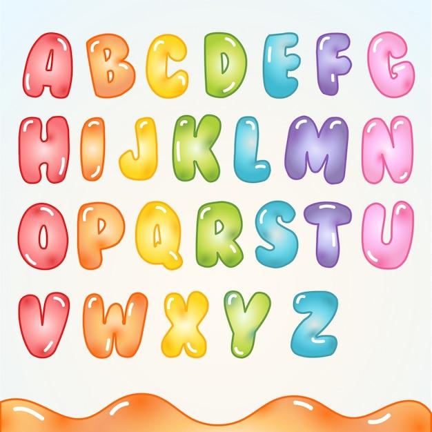 Alfabeto con disegno candy gummy Vettore Premium