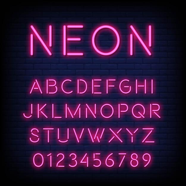 Alfabeto con lettere e numeri in effetto neon Vettore Premium