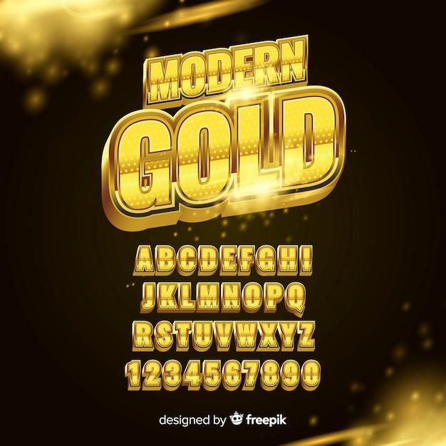 Alfabeto d'oro Vettore gratuito