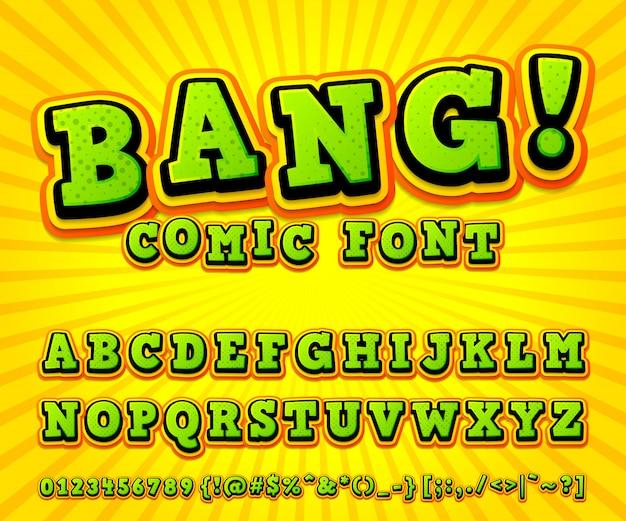 Alfabeto di carattere comico fresco nello stile del libro di fumetti, pop art. multilayer divertenti lettere e numeri verde-arancione Vettore Premium